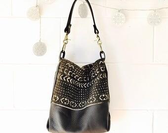 Black Leather Shoulder Bag - Leather Boho Bag -  Large Hobo Bag - Bucket Bag - Hand Made in Australia