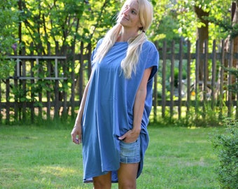 Oversize shirt, jeans blue long shirt, T-shirt