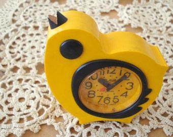 Vintage Childrens Russian Alarm Clock, Yellow Chicken Desk Clock, Kids Room Decor, Bird Clock from Soviet Union period, Slava Clock, 1970s
