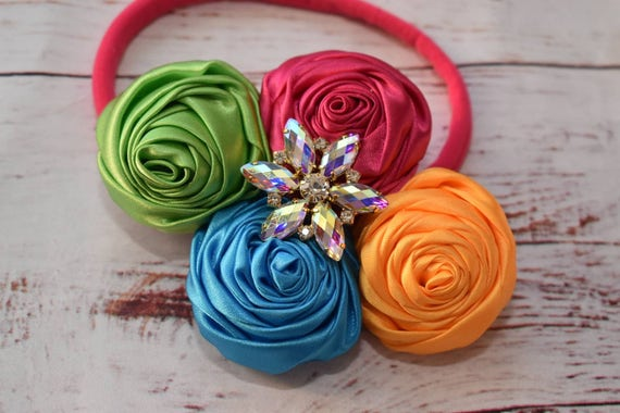 Rainbow rosette cluster  hairband - Baby / Toddler / Girls / Kids Elastic Flower Crown / Hairband / Headband / photo prop /