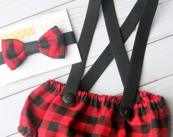 Lumberjack Diaper Cover, Buffalo Plaid First Birthday Outfit