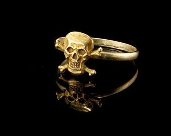 Antique Victorian Memento Mori Skull Croosbones 10k Gold Ring