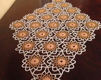 Gold & White Crochet Beaded Doily,Table Toppers