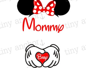 Printable Mommy and Baby Maternity Iron On Transfer - 12 Colors - Minnie Ears & Gloves - Mommy or Mommy To Be - DIY Disney Shirts
