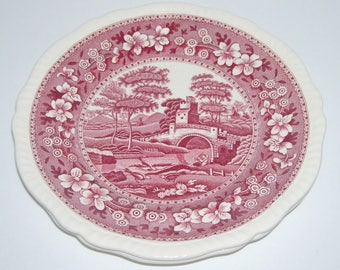 2 Copeland Spode Tower Pink Red Transferware Salad Plates