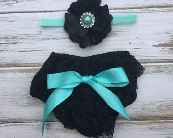 Breakfast at Tiffany's Lace Bloomer Set w/ Satin Bow and Matching Headband - Cake Smash Outfit - First Birthday - Photography Prop - Newborn