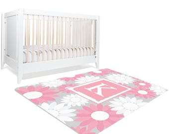 Monogram Rug, Floral Rug, Monogram Nursery, Girls Room Decor, Pink Nursery Decor, Personalized Rug, Playroom Decor, Rugs For Nursery, Custom