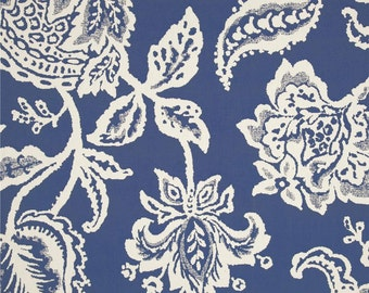 Designer Curtain Valance-Indigo Floral-Various Widths. (Matching Pillow & Table Runner Options Available)