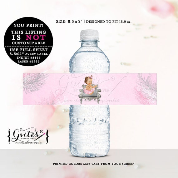Pink & silver baby girl water labels, baby shower, stickers, favor gifts, decorations, silver white and pink {LIGHT/BRUNETTE}