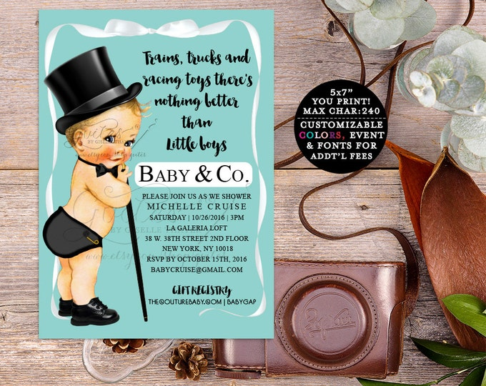 Baby & Co Baby Shower Baby boy shower invitations, digital boy baby shower, printable invitation, breakfast at, blue boy shower.