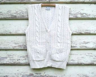 70s Vintage Wool Vest Cable Knit Cream Wool Hippie Boho Retro Knitted Vtg Pocket Sleeveless !970s Size XS-S