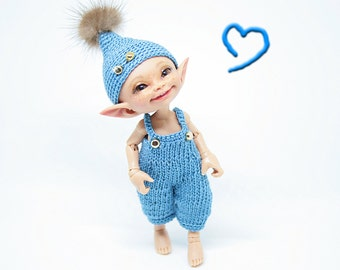 """Realpuki Knitted outfit """"Blue Denim"""""""