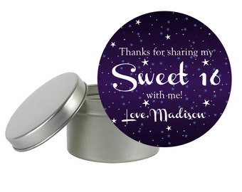 """20 - 2.5"""" Round Starry Night Labels - ready to apply on tins, mason jars, lolly pops, or cookies for goody bag or party favor"""