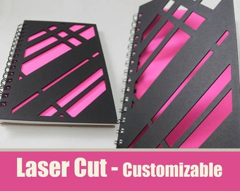 Modern Laser Cut Journal Notebook (Black Cover)