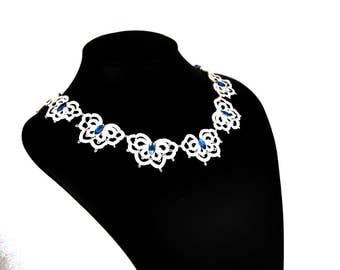 Butterfly Necklace handmade lace, tatting jewelry, collar, filigree necklace, necklace, wedding jewelry, something blue