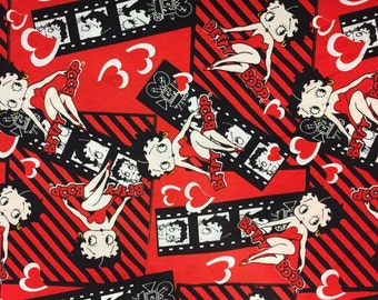 LAST PIECE: Betty Boop film strip with striped background/black/white/red  [[half yard // by the yard]]