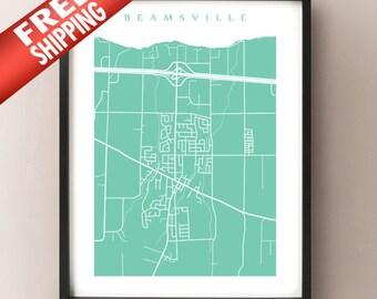 Beamsville, ON Map - Canada Wall Art - Ontario - Niagara Region