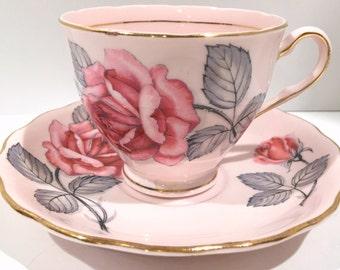 Pink Rose Colclough Tea Cup and Saucer, Rose Tea Cups, English Bone China Cups, Antique Teacups, Vintage Tea Party