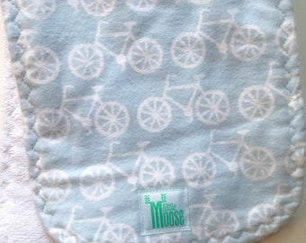 Burp Cloth - Bicycle - Blue - Flannel and Terry Cloth - Thick and Absorbant