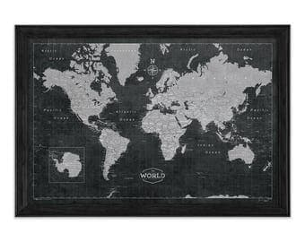 Modern World Travel Map Poster - Modern Slate Style Map