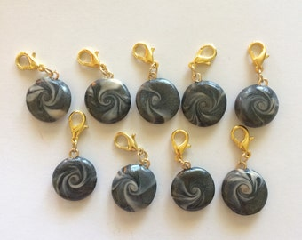 Grey Pearl and Beige Polymer Clay Lentil Bead Earrings/Progress Keeper/Stitch Marker - Great for knitting, crochet or zipper pull