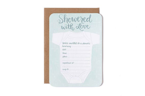 Showered with Love Fill in the Blank Invitations in Green