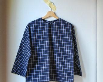 black plaid woman blouse, japanese style shirt, kimono sleeves top, loose blouse, winter shirt, woman apparel, woman clothing, kimono shirt