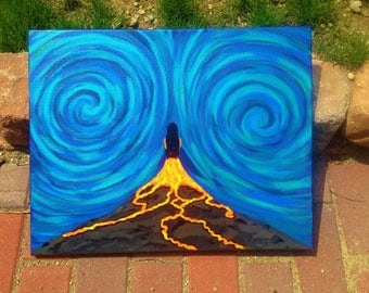 Acrylic Art Canvas Painting Volcanic Life
