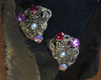 Vintage Rhinestone Earrings, W. West Germany, Gold Filigree, Wire Wrap, Pearls, Pink, Red Rhinestones, CLIPS, German Jewelry, Clip Earrings
