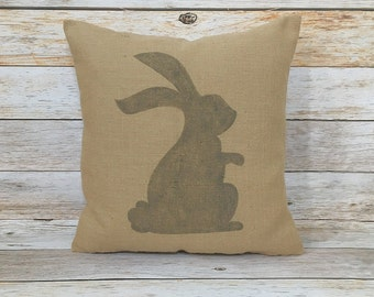 Easter Bunny Burlap Pillow Cover~Easter Rabbit Pillow Cover~Vintage Farmhouse Easter Pillow Cover~Shabby Pillow~Rustic Pillow~Easter Pillow