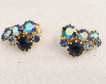 "Vtg Austria  Gold Tone Clip Earrings with Blue Shiny Rhinestones 1"" x 1/2"" Signed Austria"