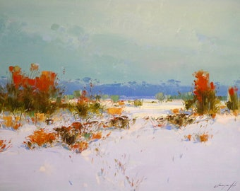 Winter Day, Landscape oil Painting, Original hand made art, large size painting, Impressionism, One of a kind