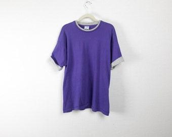 Baggy, Boxy Purple & Grey 90's Layered Tee