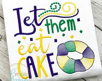 Personalized Mardi Gras Let Them Eat Cake Applique Shirt or Onesie Girl or Boy