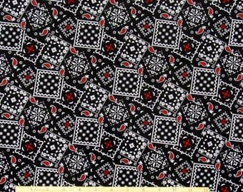 Bandana Fabric Black With Deep Red 100% Cotton