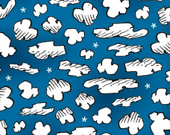 Peanuts Fabric Snoopy Fabric Snoopy the Flying Ace Dark Blue Clouds From Quilting Treasures