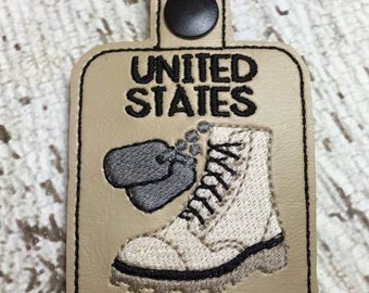 United States Marine  - Military - Combat Boots, Dog Tags - Key Fob Design - DIGITAL Embroidery DESIGN