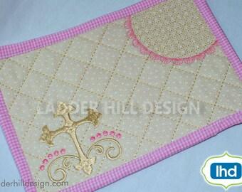 Religous Cross ITH Mug Rug Embroidery Design -- Satin Cross Machine Embroidery Design -- Religious ITH Mug Rug MR011