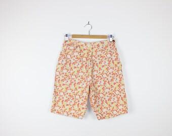 Daisy Flower Print High Waisted Shorts Denim Floral High Waist Vintage 80s 90s Indie Festival Clothing
