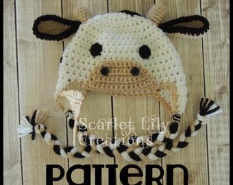 PATTERN:  Cow Crochet Hat