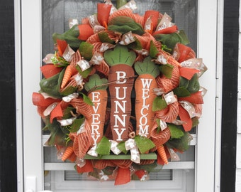 Easter Every Bunny Welcome Burlap Wreath