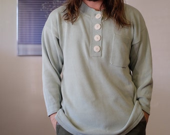 Mint Knit Sweater by Morgan Square with Oversized Buttons and Pocket