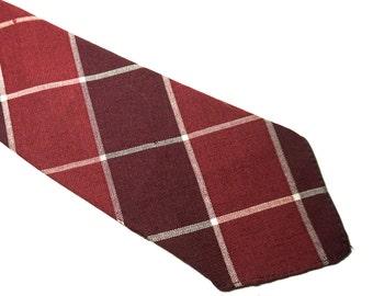 """Red Plaid Tie,Vintage Teck & Marks Red Tartan Necktie,Preppy Cotton or Wool Tie,Short Tie,47"""" x 3.3"""", Hipster Tie,Gender Neutral Accessories"""