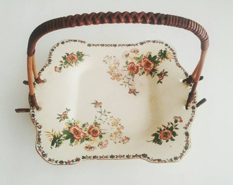 Antique Moriyama Pottery Hand Painted Japan Porcelain Wood Handle Floral Serving Snack Tray