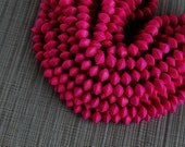 10mm Fuchsia Pink Saucer Bicone Wood Beads - Dyed and Waxed - 15 inch strand
