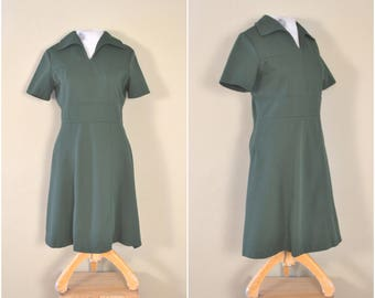 1970s olive architectural dress // vintage structured tennis dress // sporty green seventies uniform frock // medium // large