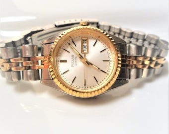 Vintage Pulsar Two Tone Day and Date Women's Working Watch, NEW BATTERY,  Pulsar Day, Date Stainless Steel Women's Watch for Small Wrist WOW