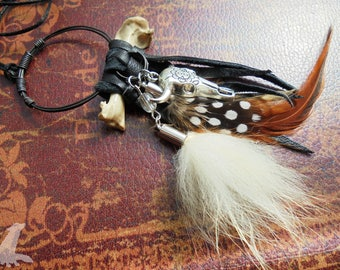 Witchy Bone and Feather Charm Necklace