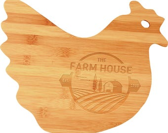 Cutting Board/Chicken Cutting Board/Cheese Board/House Warming Gift/Personalized Bamboo Hen Shape/Wedding/Restaurant/Catering/Chef/Farm