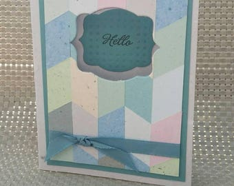 Hello Card Made With 100% Recycled Paper - Blue/Green/Pink